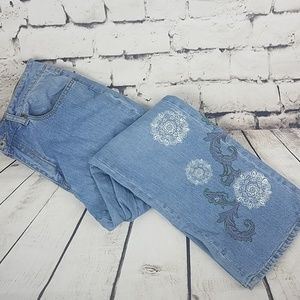Coldwater Creek Embroidered Floral + Paisley Jeans